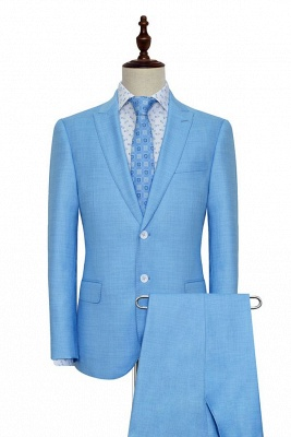 Blue Wool Two Button Casual Suit for Men | Customized Peak Lapel Business Men Suits (Blazer Pants)_3