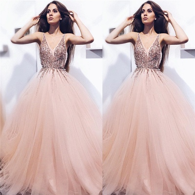V-neck Beads Sequins Coral Prom Dresses Cheap 2020 | Sleeveless Puffy Tulle Sexy Evening Gowns_3