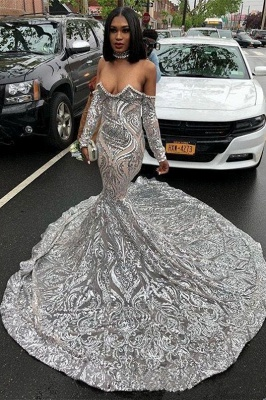 Sexy Off The Shoulder Silver Prom Dresses Cheap 2020 | Long Sleeve Sparkle Lace Mermaid Graduation Dresses_2