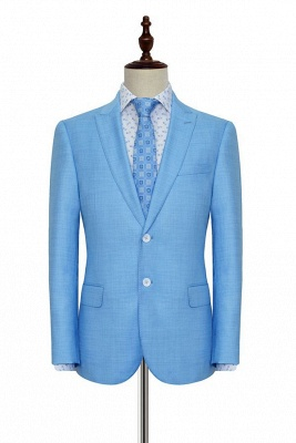 Blue Wool Two Button Casual Suit for Men | Customized Peak Lapel Business Men Suits (Blazer Pants)