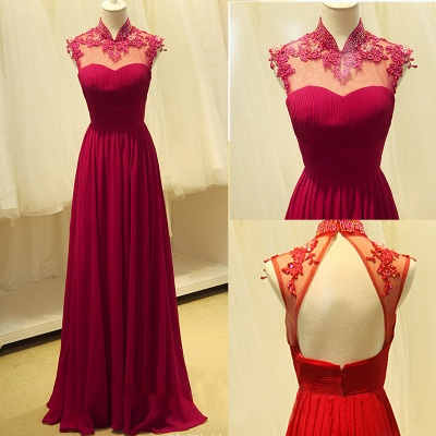 Elegant Ruby Chiffon High Neck Long Evening Dresses Sheer Top Beading Appliques Mother Dresses_2