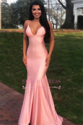Cheap Spaghetti-straps Mermaid Prom Dresses | Sexy V-neck Pink Floor-length Evening Gowns BC1761_3