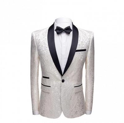 White Jacquard One Button Wedding Groom Tuexdos | Black Lapel Collar Men Suits (Jacket Pants)_2