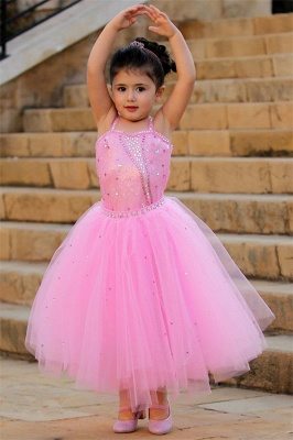 Pretty Pink Crystal Flower Girl Dresses | 2020 Open Back Pageant Dress with Detachbale Skirt
