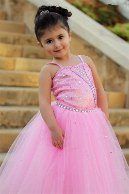 Pretty Pink Crystal Flower Girl Dresses | 2020 Open Back Pageant Dress with Detachbale Skirt_3