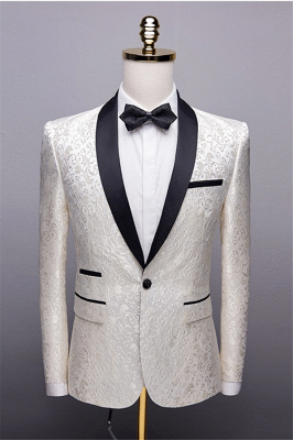 White Jacquard One Button Wedding Groom Tuexdos | Black Lapel Collar Men Suits (Jacket Pants)_1