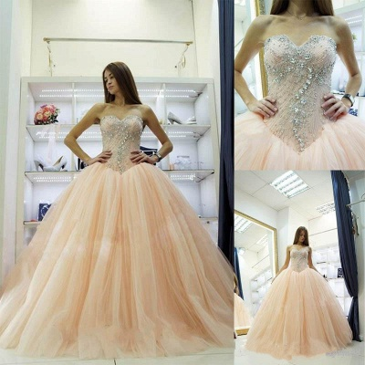 Pretty Sweetheart Princess Ball Gowns Crystals Beading 2020 Wedding Dresses_3