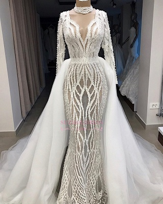 Lace Overskirt High-Neck Charming Long-Sleeves Wedding Dresses_3