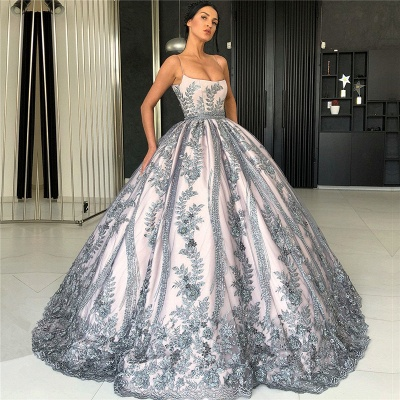Spaghetti Straps Silver Grey Lace Appliques Evening Dresses | Luxury Princess Ball Gown Prom Dress 2020 BC0407_3