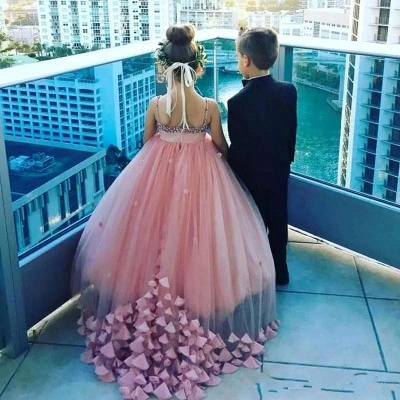 Lovely Pink Spaghetti Straps Flower Girl Dresses | Crystal Tulle Puffy Girls Pageant Dresses 2020_4