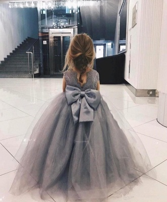 Cute Tulle Flower Girl Dress Cheap | 2020 Lace Bowknot Girls Pageant Dresses Lovely