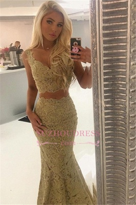 2020 Sexy Lace Two-Pieces Evening Dresses | Straps Sleeveless Mermaid Prom Dresses_2