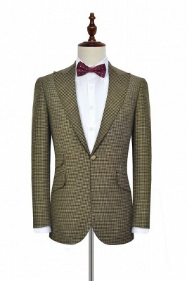 Wool Small Grid One Button Regular Formal Mens Suits | Tailored Peak Lapel Business Suits for Men (Blazer Pants)_3