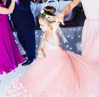 Lovely Pink Spaghetti Straps Flower Girl Dresses | Crystal Tulle Puffy Girls Pageant Dresses 2020_3