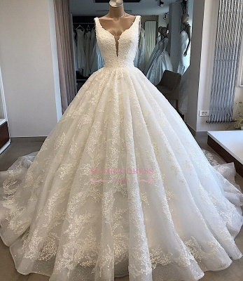 V-neck Lace Ball-Gown Glamorous Appliques Wedding Dresses_4