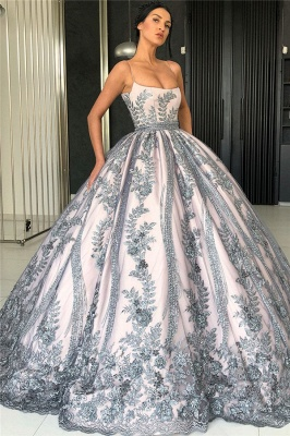 Spaghetti Straps Silver Grey Lace Appliques Evening Dresses | Luxury Princess Ball Gown Prom Dress 2020 BC0407_1