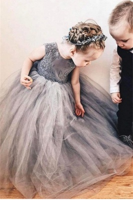 Cute Tulle Flower Girl Dress Cheap | 2020 Lace Bowknot Girls Pageant Dresses Lovely_3