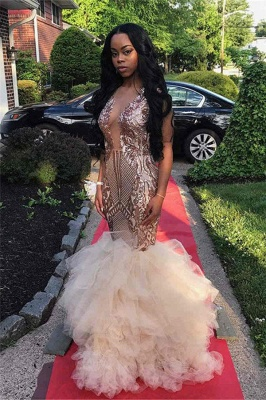 Sparkling Sequins Mermaid Prom Dresses | Sheer Tulle Ruffles Cheap Evening Gowns