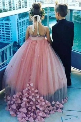 Lovely Pink Spaghetti Straps Flower Girl Dresses | Crystal Tulle Puffy Girls Pageant Dresses 2020