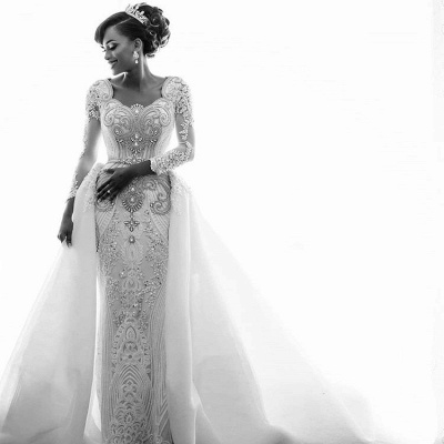 Beads Crystals Long Sleeve Wedding Dresses | Luxury Overskirt Cathedral Train Cheap Bridal Gowns_3