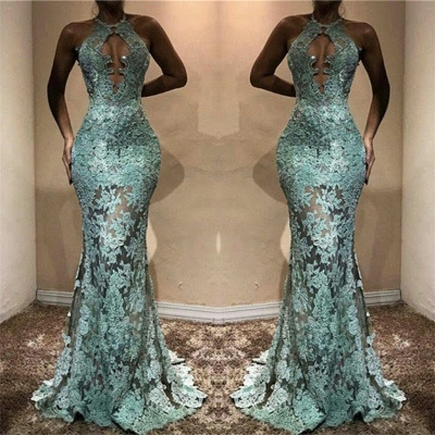 2020 Halter Lace See Through Prom Dresses Cheap Mermaid Sleeveless Evening Gown FB0198_3