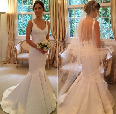 Mermaid Elegant Sleeveless Bride Dress 2020 V-Neck Open-Back Wedding Dress_2
