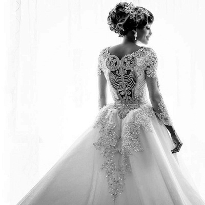 Beads Crystals Long Sleeve Wedding Dresses | Luxury Overskirt Cathedral Train Cheap Bridal Gowns_2