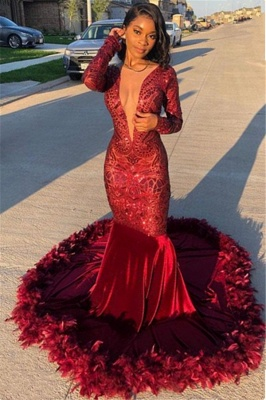 Long Sleeve Burgundy Feather Mermaid Prom Dresses Cheap 2020