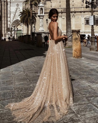 Champagne Sequins Backless Prom Dresses | 2020 Spaghetti Straps A-Line Evening Dresses Online_3
