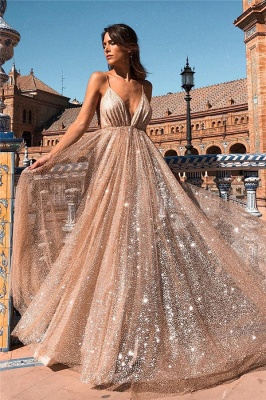 Champagne Sequins Backless Prom Dresses | 2020 Spaghetti Straps A-Line Evening Dresses Online