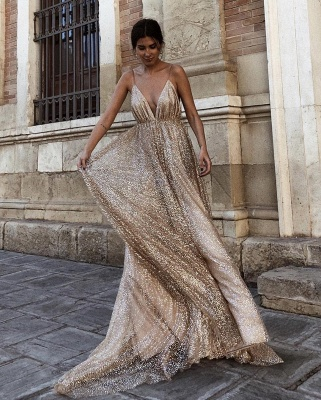 Champagne Sequins Backless Prom Dresses | 2020 Spaghetti Straps A-Line Evening Dresses Online_4