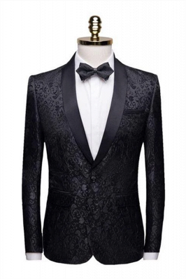 Black Jacquard Shoal Lapel Collar Men Suits | Unique Slim Fit Wedding Groom Tuexdos (Jacket Pants)