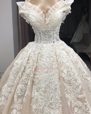 Appliques Off-the-shoulder Gorgeous Ball-Gown Wedding Dresses_2