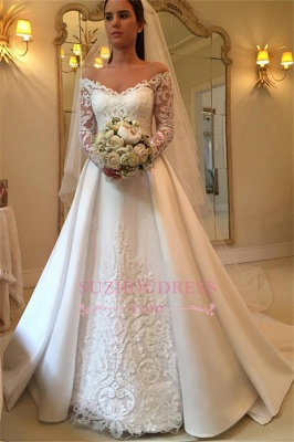 2020 Off-the-Shoulder Long-Sleeves Wedding Dresses | Lace A-Line Bridal Gowns WW0109_4