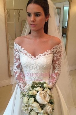 2020 Off-the-Shoulder Long-Sleeves Wedding Dresses | Lace A-Line Bridal Gowns WW0109_3