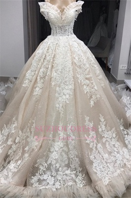 Appliques Off-the-shoulder Gorgeous Ball-Gown Wedding Dresses_1