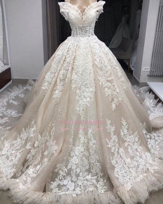 Appliques Off-the-shoulder Gorgeous Ball-Gown Wedding Dresses_4