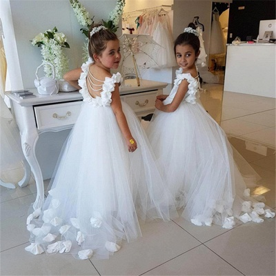 Elegant White Open Back Flower Girl Dresses | Sleeveless Flowers Tulle Pageant Dress 2020_4