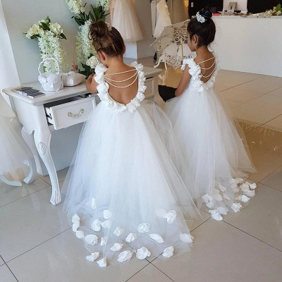 Elegant White Open Back Flower Girl Dresses | Sleeveless Flowers Tulle Pageant Dress 2020_3