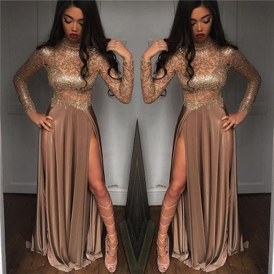 High Neck Champagne Gold Sexy Evening Dress Splits Long Sleeve Illusion Prom Dress 2020 FB0061_3