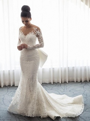 Chic Long Sleeve Mermaid Lace Wedding Dress With Detachable Train
