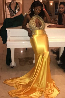 Halter Open Back Sexy Keyhole Prom Dresses Gold 2020 | Mermaid Sleeveless Beads Appliques Evening Gown_1
