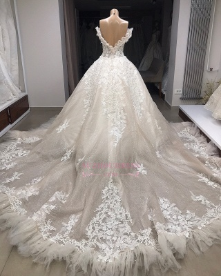 Appliques Off-the-shoulder Gorgeous Ball-Gown Wedding Dresses_3