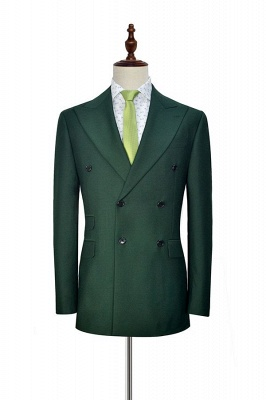 Bespoke Green wool Double Breasted Business Men Suits | 2020 Custom Made  Suit for Formal (Blazer Pants)_1