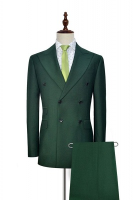 Bespoke Green wool Double Breasted Business Men Suits | 2020 Custom Made  Suit for Formal (Blazer Pants)_2