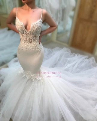 Sexy Mermaid Sleeveless Wedding Dresses | Cheap Lace Spaghetti-Straps Bridal Gowns_4