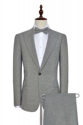 Small Grid Leisure Tailored Grey Mens Suit | Slim Fit One Button Cheap Formal Suits for Men (Blazer Pants)_3
