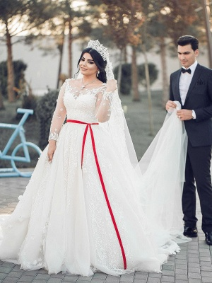 White Long Sleeves Tulle Wedding Dresses | Long A-Line Lace Brial Gowns 2020_3