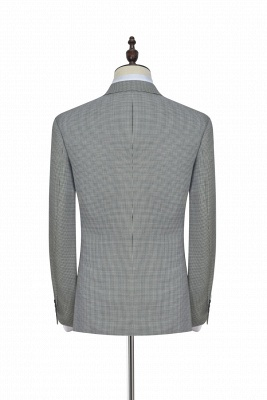 Small Grid Leisure Tailored Grey Mens Suit | Slim Fit One Button Cheap Formal Suits for Men (Blazer Pants)_2