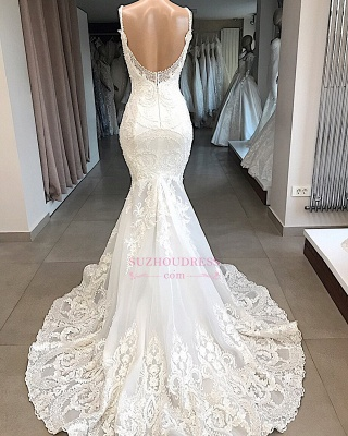 Mermaid Appliques Beautiful Spaghetti-Straps Lace Wedding Dresses_3